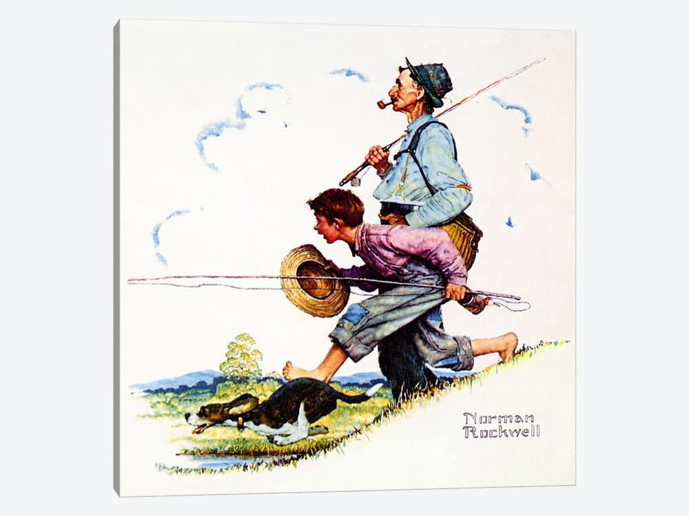 Grandpa and Me: Fishing by Norman Rockwell 1-piece Canvas Artwork