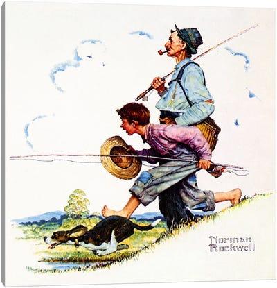 Grandpa and Me: Fishing Canvas Art Print