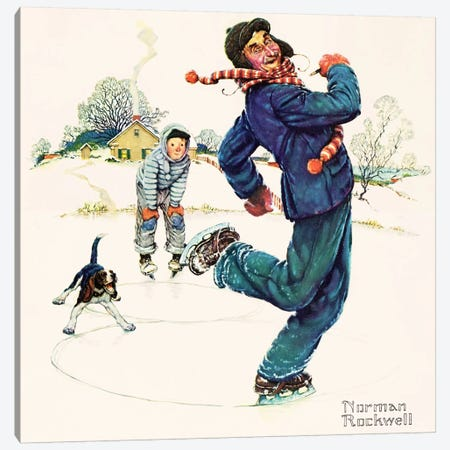 Grandpa and Me: Ice Skating Canvas Print #NRL382} by Norman Rockwell Canvas Artwork