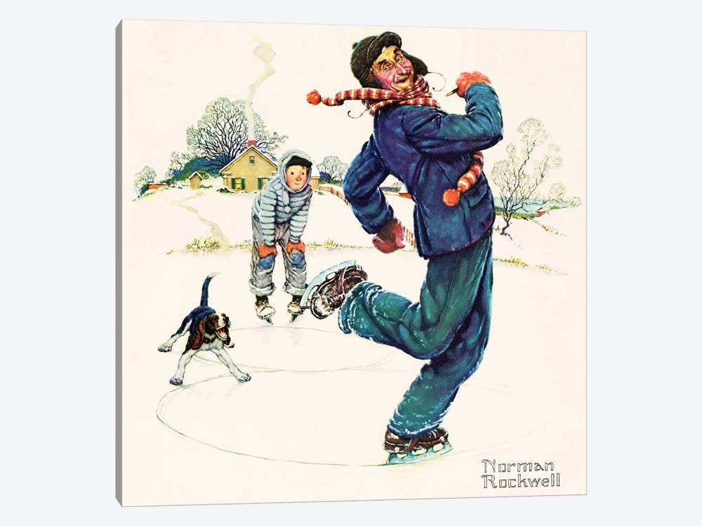 Grandpa and Me: Ice Skating by Norman Rockwell 1-piece Canvas Art Print