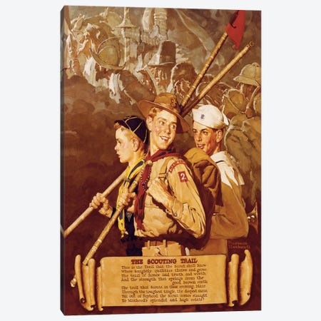 The Scouting Trail Canvas Print #NRL387} by Norman Rockwell Art Print