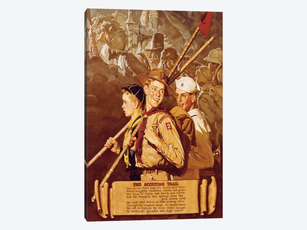 The Scouting Trail by Norman Rockwell 1-piece Canvas Artwork