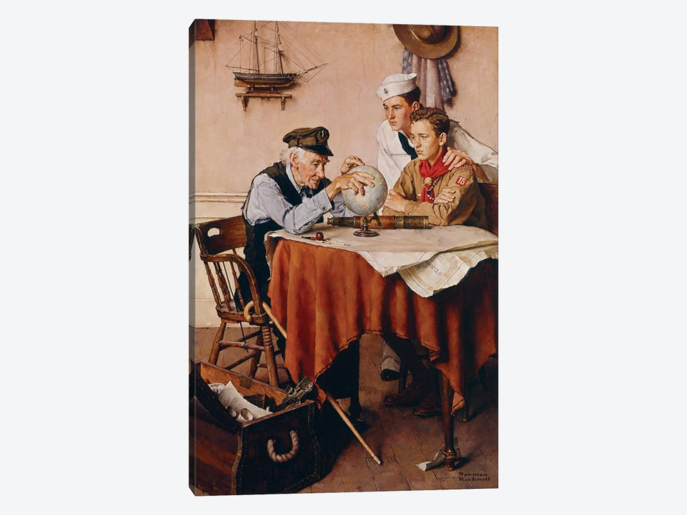 Scouts of Many Trails by Norman Rockwell 1-piece Canvas Art Print