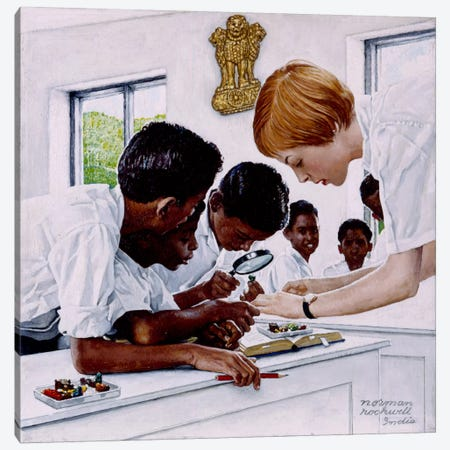 The Peace Corps in India Canvas Print #NRL38} by Norman Rockwell Canvas Print