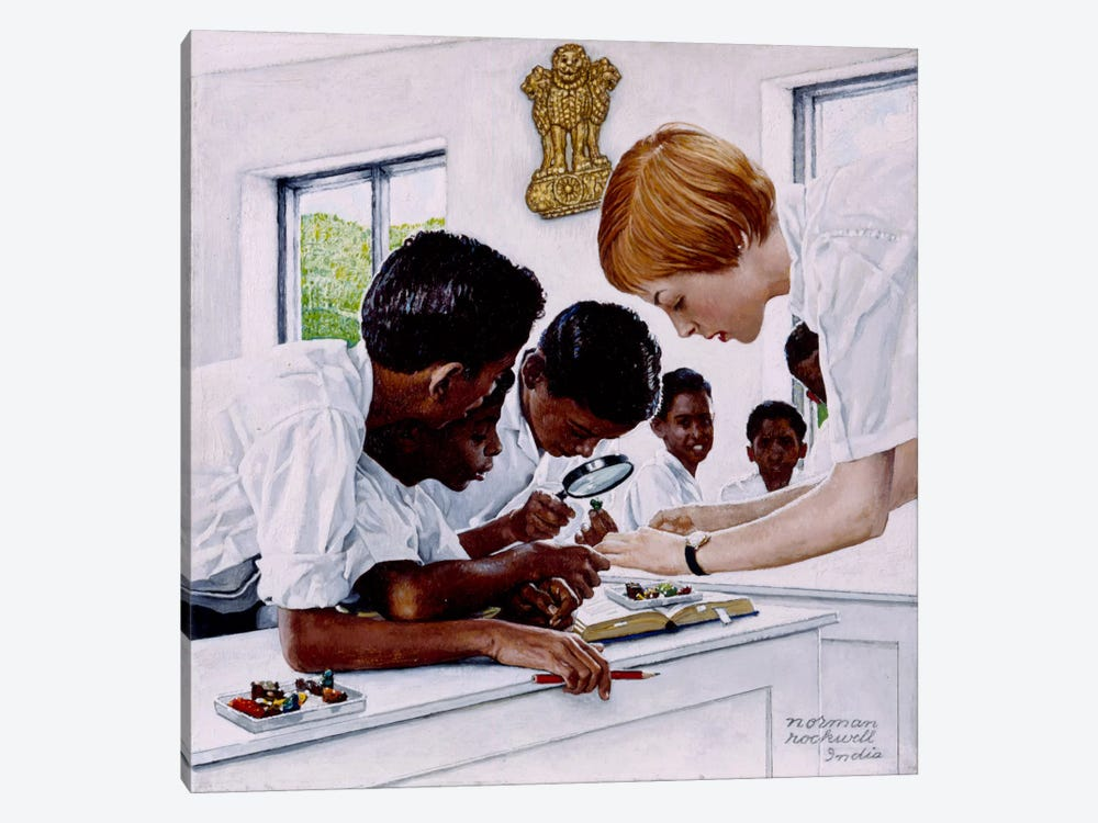 The Peace Corps in India by Norman Rockwell 1-piece Canvas Artwork