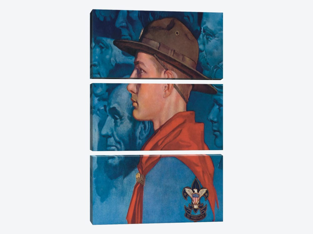 Spirit of America (Blue) by Norman Rockwell 3-piece Canvas Print