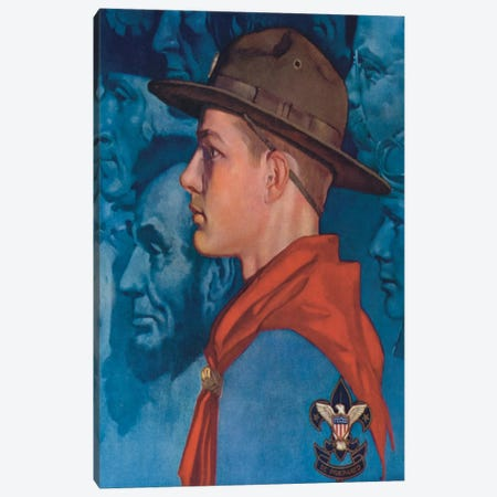 Spirit of America (Blue) Canvas Print #NRL393} by Norman Rockwell Canvas Art Print