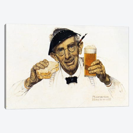 Man with Sandwich and Glass of Beer Canvas Print #NRL395} by Norman Rockwell Canvas Artwork