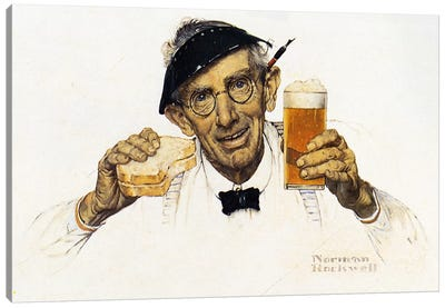 Man with Sandwich and Glass of Beer Canvas Print #NRL395