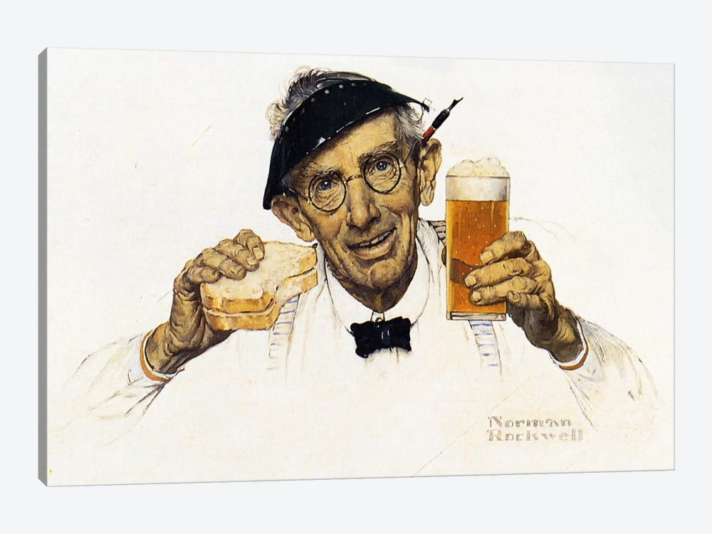 Man with Sandwich and Glass of Beer by Norman Rockwell 1-piece Canvas Art Print
