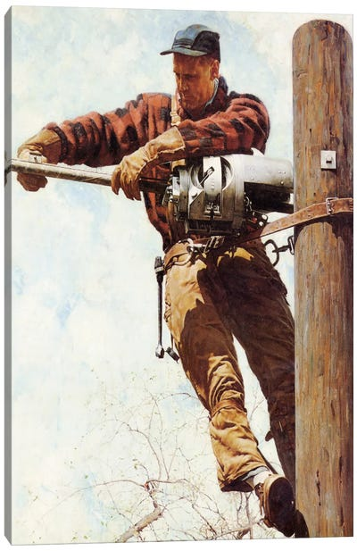 The Lineman by Norman Rockwell Canvas Artwork