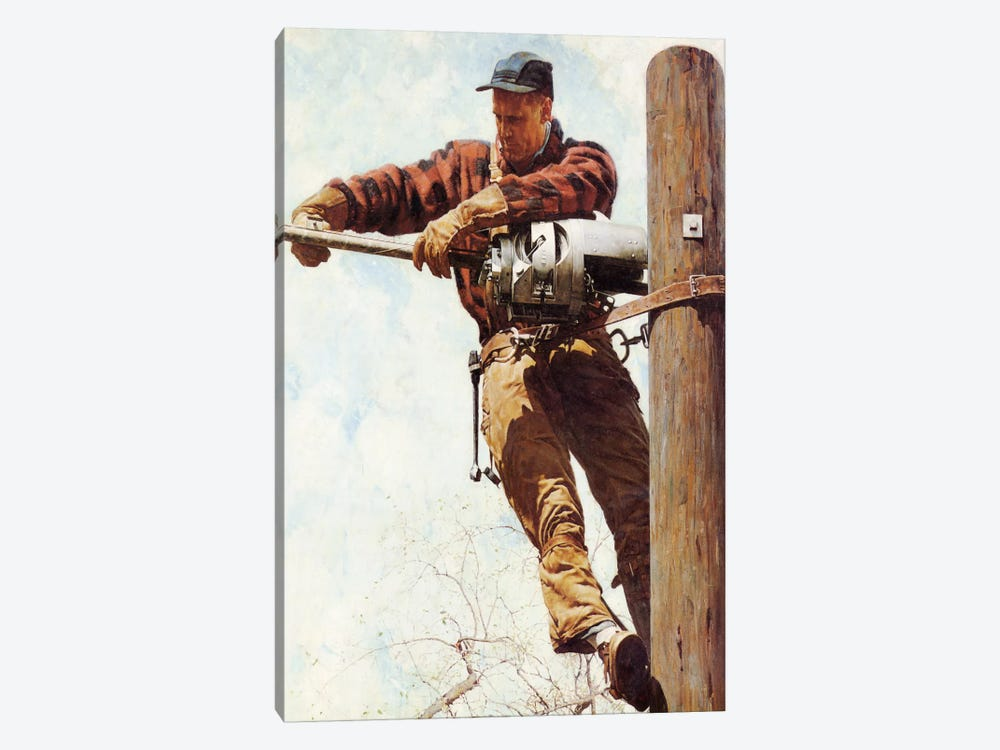 The Lineman by Norman Rockwell 1-piece Art Print