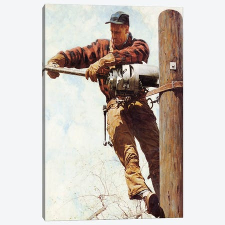 The Lineman Canvas Print #NRL397} by Norman Rockwell Canvas Artwork