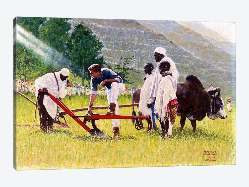 The Peace Corps in Ethiopia by Norman Rockwell 1-piece Canvas Print