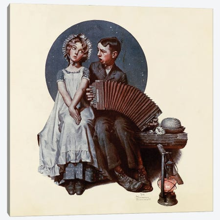 Boy and Girl With Concertina Canvas Print #NRL415} by Norman Rockwell Art Print
