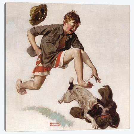 Boy Chasing Dog with Pants Canvas Print #NRL416} by Norman Rockwell Art Print