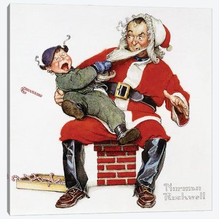 Crying Child Pulling Santa's Beard Canvas Print #NRL423} by Norman Rockwell Art Print