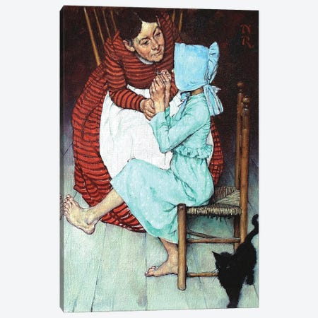 Huck Finn Threading a Needle Canvas Print #NRL431} by Norman Rockwell Canvas Art