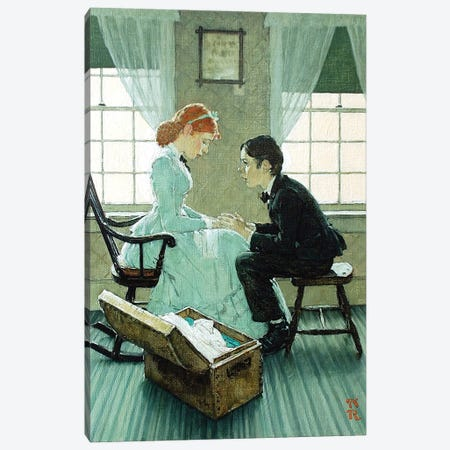 Huck Talking to Mary Jane Canvas Print #NRL432} by Norman Rockwell Canvas Artwork