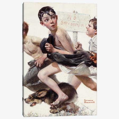 No Swimming Canvas Print #NRL438} by Norman Rockwell Canvas Art