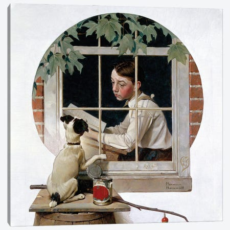 Schoolboy Gazing Out Window Canvas Print #NRL441} by Norman Rockwell Canvas Print