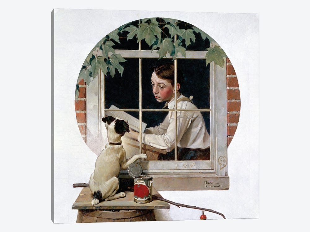 Schoolboy Gazing Out Window by Norman Rockwell 1-piece Canvas Art Print