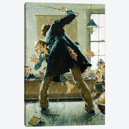 Schoolmaster Flogging Tom Sawyer Canvas Print #NRL442} by Norman Rockwell Canvas Art Print