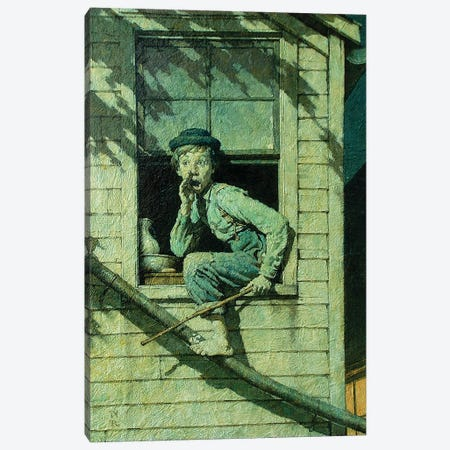 Tom Sawyer Sneaking Out Window Canvas Print #NRL446} by Norman Rockwell Canvas Art