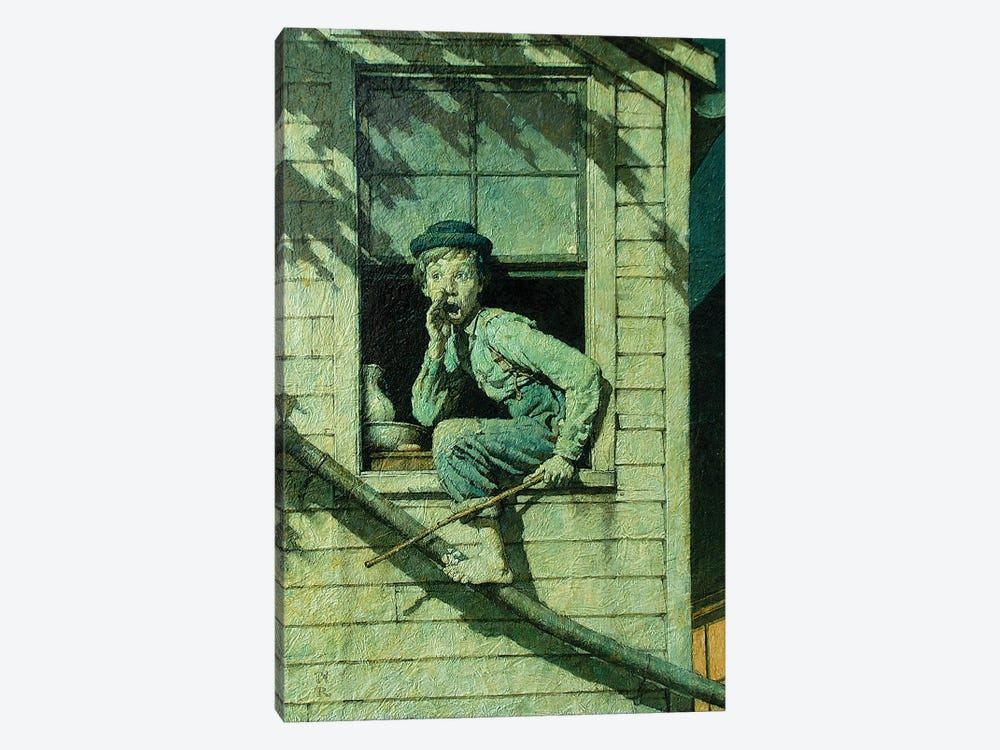 Tom Sawyer Sneaking Out Window by Norman Rockwell 1-piece Canvas Wall Art