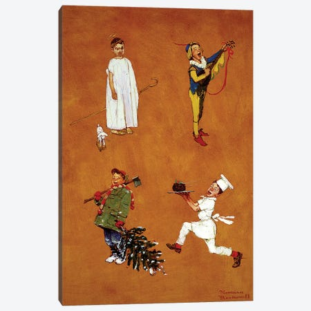 Christmas Studies I Canvas Print #NRL453} by Norman Rockwell Canvas Art