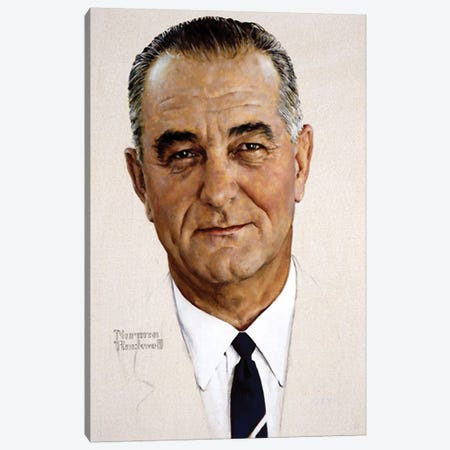 Portrait of Lyndon B. Johnson Canvas Print #NRL47} by Norman Rockwell Canvas Art Print