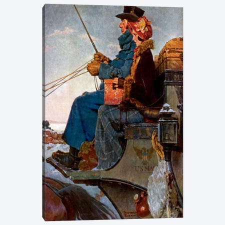 The Christmas Coach Canvas Print #NRL54} by Norman Rockwell Canvas Artwork
