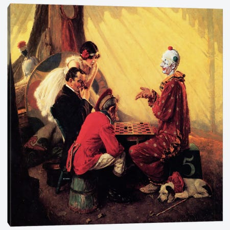 Checkers Canvas Print #NRL57} by Norman Rockwell Canvas Artwork