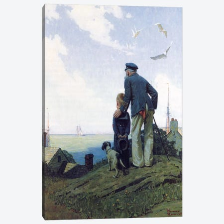The Stay at Homes 3-Piece Canvas #NRL59} by Norman Rockwell Canvas Art Print