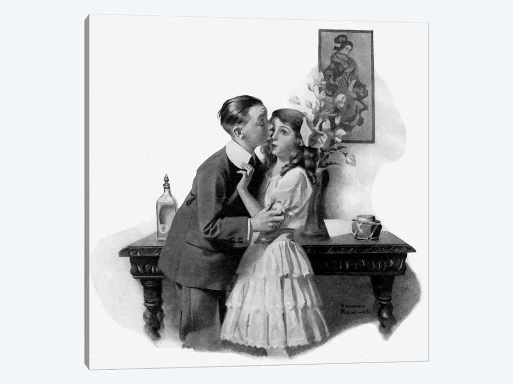 Courting by Norman Rockwell 1-piece Canvas Wall Art