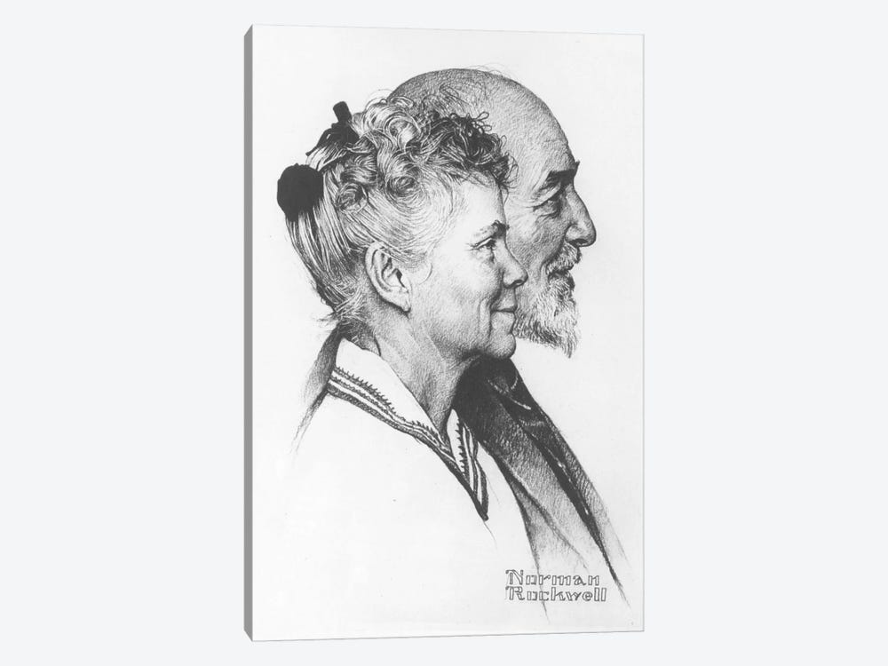 Portrait of John and Dorothy Canfield Fisher by Norman Rockwell 1-piece Canvas Art Print