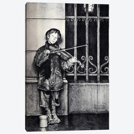 Phil the Fiddler Canvas Print #NRL69} by Norman Rockwell Canvas Wall Art