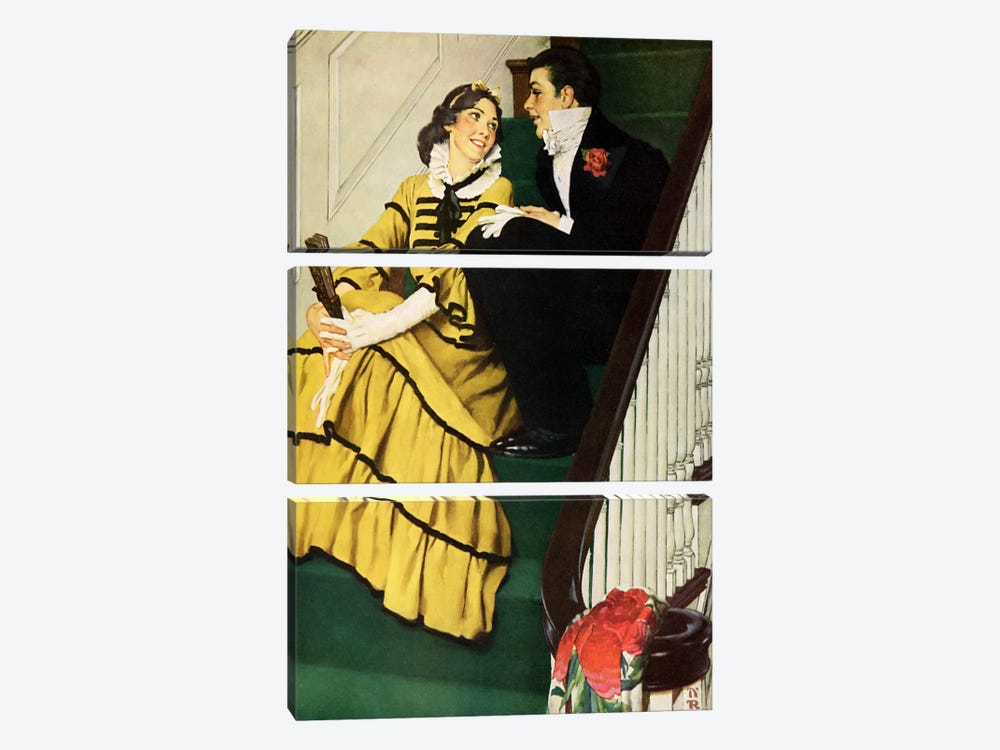 The Most Beloved American Writer by Norman Rockwell 3-piece Canvas Art