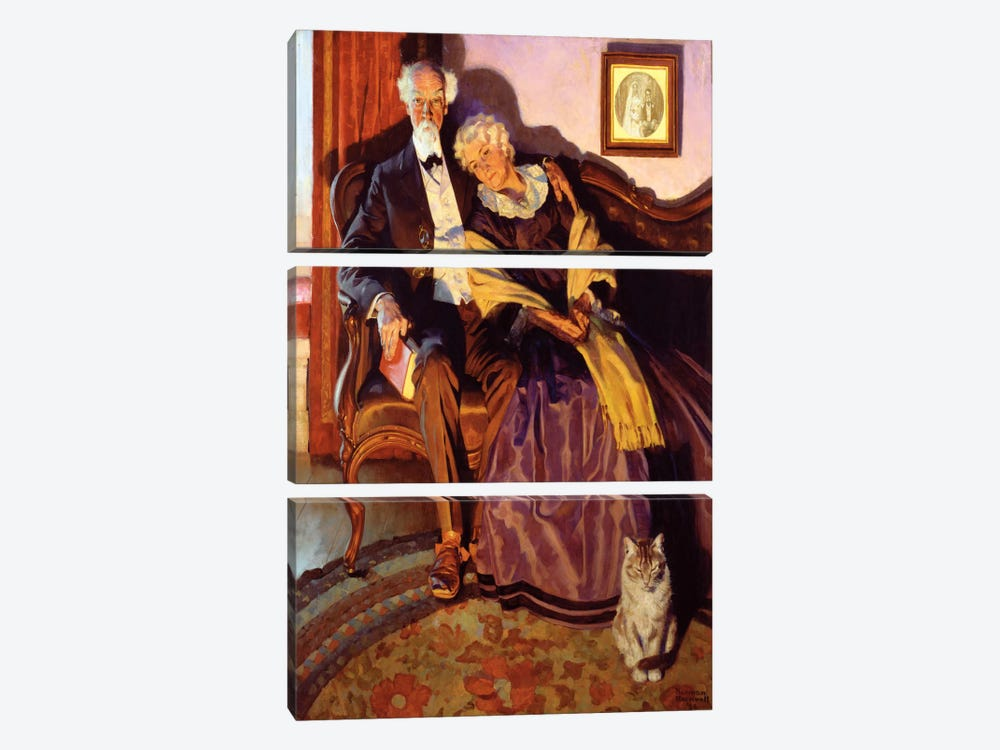 When Winter Comes by Norman Rockwell 3-piece Canvas Print