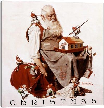 Christmas: Santa with Elves  Canvas Print #NRL78