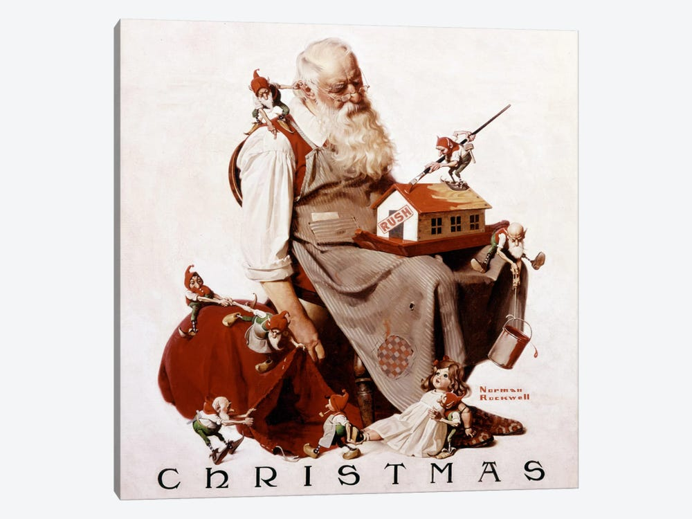 Christmas: Santa with Elves  by Norman Rockwell 1-piece Canvas Wall Art