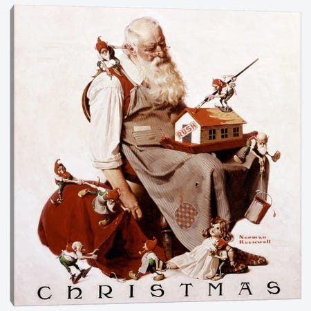 Christmas: Santa with Elves  Canvas Print #NRL78} by Norman Rockwell Canvas Print