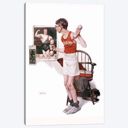 Boy Lifting Weights Canvas Print #NRL79} by Norman Rockwell Art Print