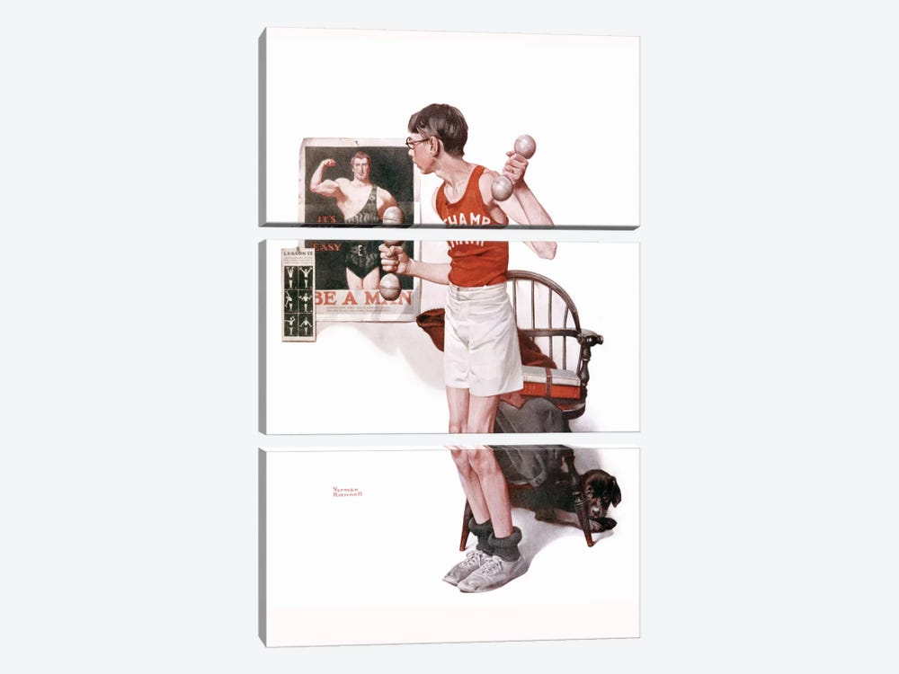 Boy Lifting Weights by Norman Rockwell 3-piece Canvas Art Print