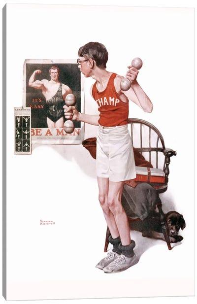 Boy Lifting Weights Canvas Art Print