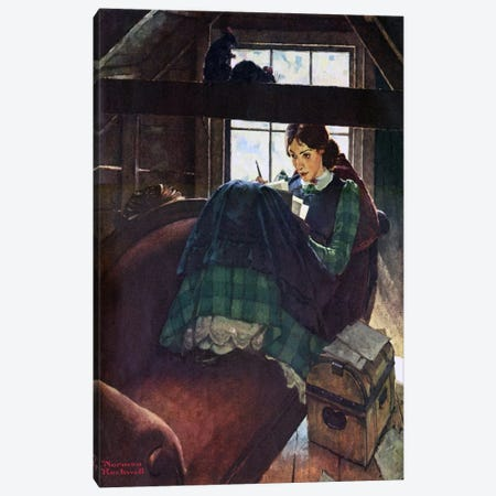 The Most Beloved American Writer Woman Canvas Print #NRL7} by Norman Rockwell Art Print