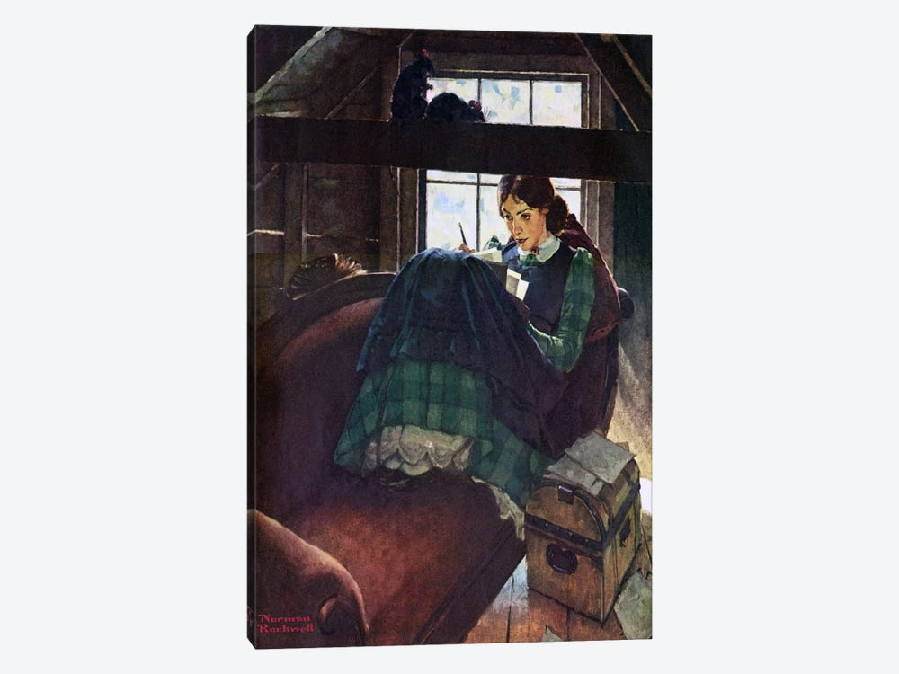 The Most Beloved American Writer Woman by Norman Rockwell 1-piece Canvas Art Print
