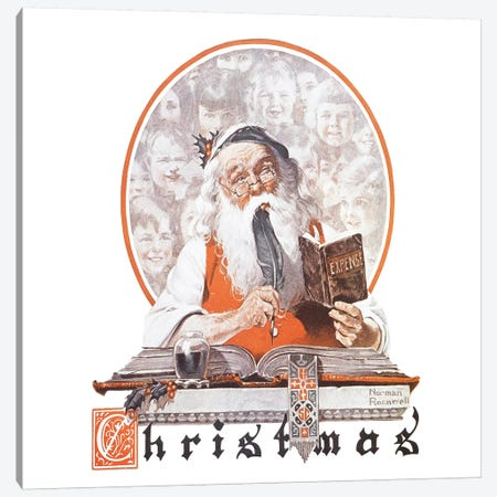 Santa and Expense Book Canvas Print #NRL81} by Norman Rockwell Canvas Art