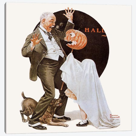 Grandfather Frightened by Jack-O-Lantern Canvas Print #NRL82} by Norman Rockwell Canvas Wall Art