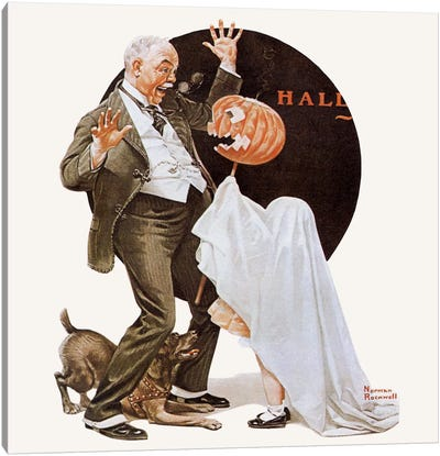 Grandfather Frightened by Jack-O-Lantern Canvas Art Print